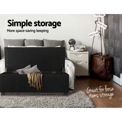 Artiss Large Fabric Storage Ottoman - Black