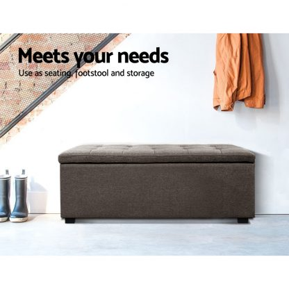 Artiss Large Fabric Storage Ottoman - Brown