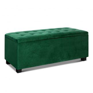 Artiss Storage Ottoman Blanket Box Velvet Foot Stool Rest Chest Couch Toy Green