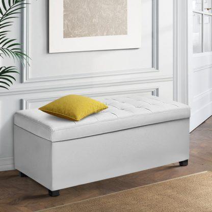 Artiss Large PU Leather Storage Ottoman - White