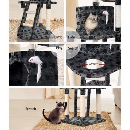 i.Pet Cat Tree 120cm Trees Scratching Post Scratcher Tower Condo House Furniture Wood 120cm