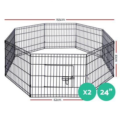 """i.Pet 2X24"""" 8 Panel Pet Dog Playpen Puppy Exercise Cage Enclosure Fence Play Pen"""