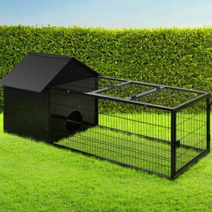 i.Pet Rabbit Cage Hutch Cages Indoor Outdoor Hamster Enclosure Pet Metal Carrier 162CM Length