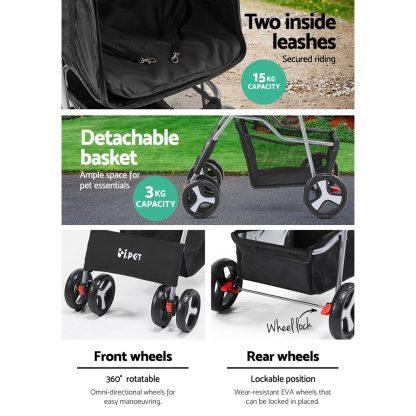i.Pet 4 Wheel Pet Stroller - Black