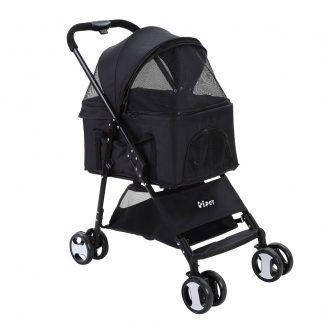 i.Pet Pet Stroller Dog Carrier Foldable Pram 3 IN 1 Middle Size Black