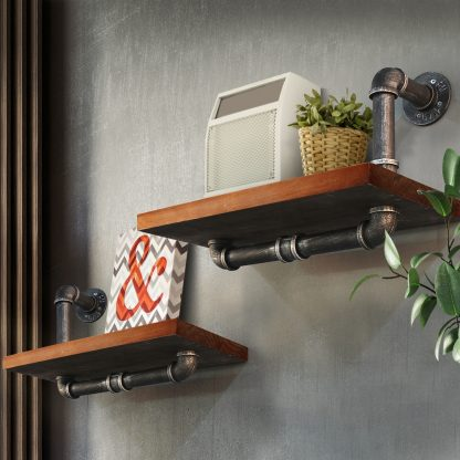 Artiss Wall Shelves Rustic Bookshelf Retro Display Shelves Industrial DIY Pipe Shelf Floating Brackets