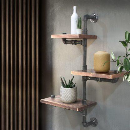 Artiss Display Shelves Bookshelf Pipe Shelf Rustic Industrial Floating Wall Shelves DIY Brackets