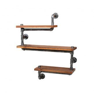 Artiss Display Shelves Rustic Bookshelf Industrial DIY Pipe Shelf Wall Brackets