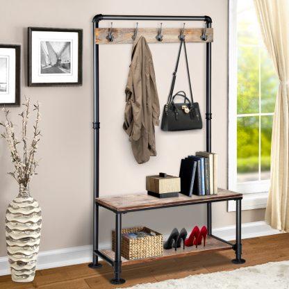 Artiss Rustic Hook Coat Shoe Rack Hanger Stand Clothes Vintage Wooden Pipe Shelf