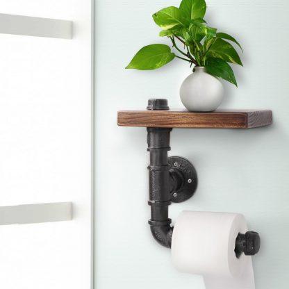 Artiss 1X Wall Shelves Paper Holder Industrial Pipe Shelf DIY Vintage Brackets