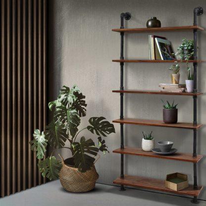 Artiss Wall Shelves Display Bookshelf Rustic Vintage DIY Pipe Shelf Brackets