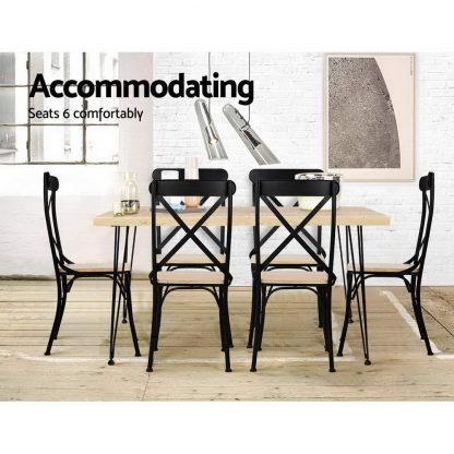 Artiss Dining Table 4 Seater 100 x 65cm Pine Wood Industrial Scandinavian Timber Metal Black Legs Brown Rectangular Tables