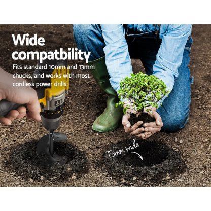 GIANTZ Power Garden Auger Small Earth Planter 75 X 600MM Black