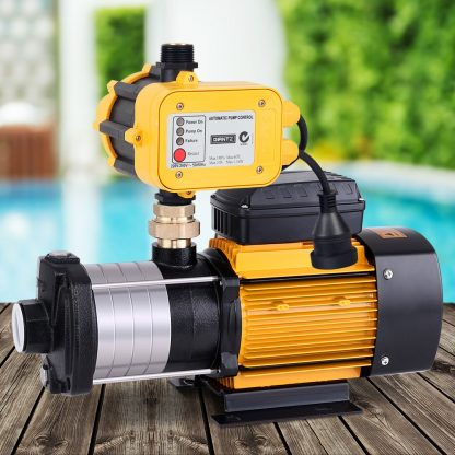Giantz Multi Stage Water Pump Pressure Rain Tank Garden Farm House Irrigation 2000W Yellow Controller