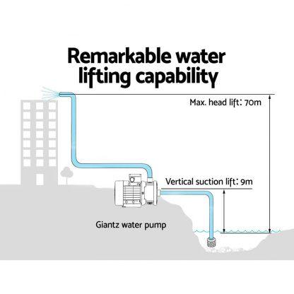 Giantz Multi Stage Water Pump Pressure Rain Tank Garden Farm House Irrigation 2500W