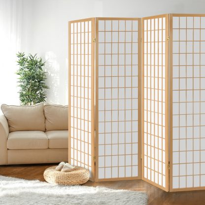 Artiss 4 Panel Wooden Room Divider - Natural