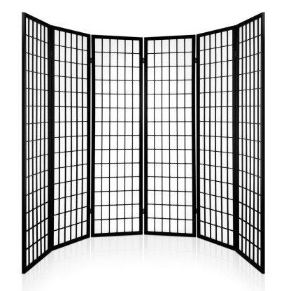 Artiss 6 Panel Room Divider Privacy Screen Foldable Pine Wood Stand Black