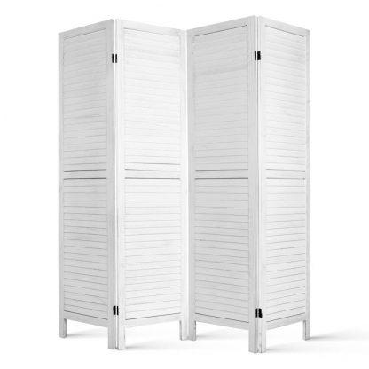 Artiss 4 Panel Foldable Wooden Room Divider - White