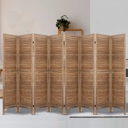 Artiss Room Divider Screen 8 Panel Privacy Wood Dividers Stand Bed Timber Brown