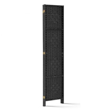 Artiss 3 Panel Room Divider Privacy Screen Rattan Woven Wood Stand Black