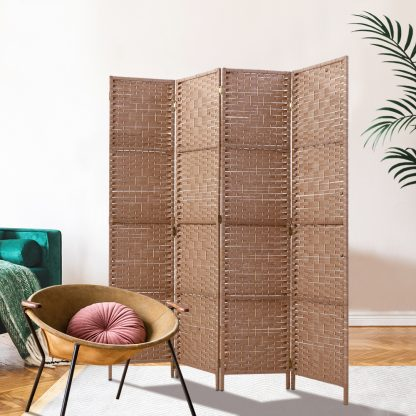 Artiss 4 Panel Room Divider Screen Privacy Rattan Timber Foldable Dividers Stand Hand Woven