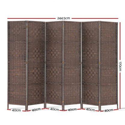 Artiss 6 Panel Room Divider - Brown