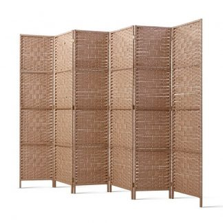 Artiss 6 Panel Room Divider Screen Privacy Rattan Timber Foldable Dividers Stand Hand Woven