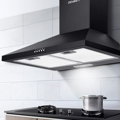 Devanti Pyramid Range Hood Rangehood 600mm 60cm Kitchen Canopy Black