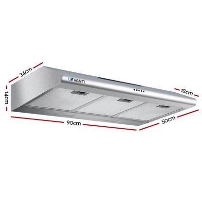 DEVANTI Fixed Range Hood Rangehood Stainless Steel Kitchen Canopy 90cm 900mm