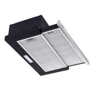 Devanti Rangehood Range Hood Stainless Steel Slide Out Kitchen Canopy 60cm 600mm Black