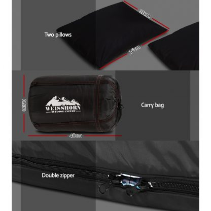 Weisshorn Sleeping Bag Bags Double Camping Hiking -10°C to 15°C Tent Winter Thermal Grey