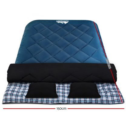 Weisshorn Sleeping Bag Bags Double Camping Hiking -10°C to 15°C Tent Winter Thermal Navy