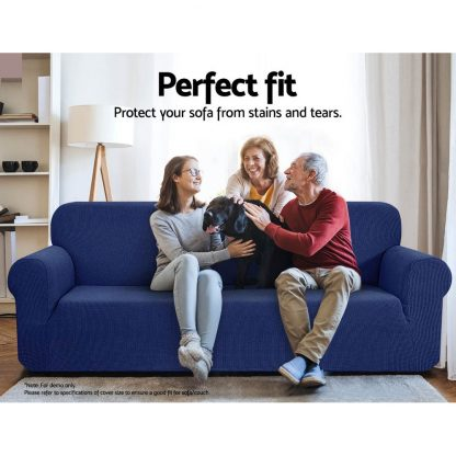 Artiss High Stretch Sofa Cover Couch Protector Slipcovers 1 Seater Navy