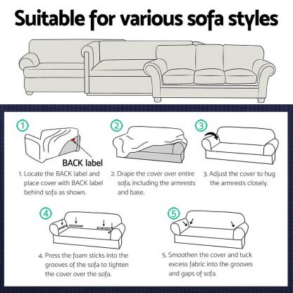 Artiss High Stretch Sofa Cover Couch Protector Slipcovers 3 Seater Navy
