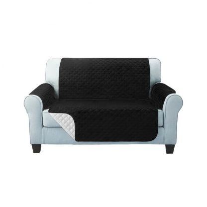 Artiss Sofa Cover Quilted Couch Covers Lounge Protector Slipcovers 2 Seater Black