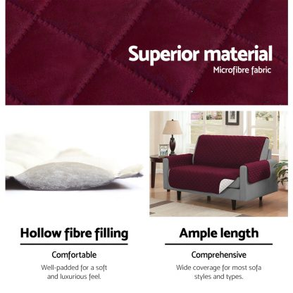 Artiss Sofa Cover Quilted Couch Covers Lounge Protector Slipcovers 2 Seater Burgundy