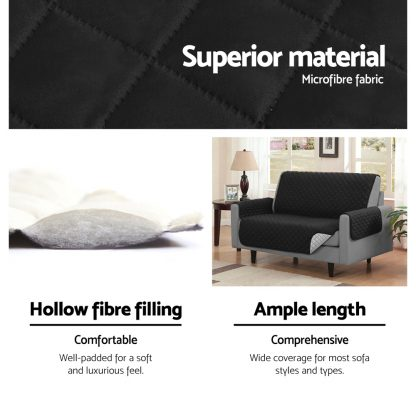 Artiss Sofa Cover Quilted Couch Covers Lounge Protector Slipcovers 3 Seater Black