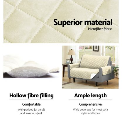 Artiss Sofa Cover Quilted Couch Covers Lounge Protector Slipcovers 3 Seater Khaki