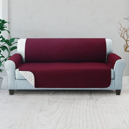 Artiss Sofa Cover Quilted Couch Covers Lounge Protector Slipcovers 3 Seater Burgundy