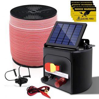 Giantz 3KM Solar Electric Fence Energiser Energizer 0.1J + 1200M Electrical Fencing Wire Tape Farm