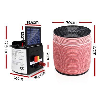 Giantz 5KM Solar Electric Fence Energiser Energizer 0.15J + 1200M Electrical Fencing Wire Tape Farm