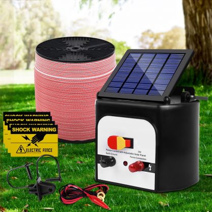 Giantz 8KM Solar Electric Fence Energiser Energizer 0.3J + 1200M Electrical Fencing Wire Tape Farm