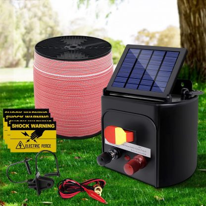 Giantz 3KM Solar Electric Fence Energiser Energizer 0.1J + 2000M Electrical Fencing Wire Tape Farm