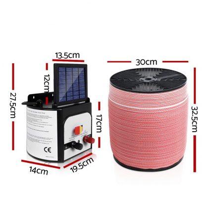 Giantz 8KM Solar Electric Fence Energiser Energizer 0.3J + 2000M Electrical Fencing Wire Tape Farm