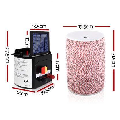 Giantz 3KM Solar Electric Fence Energiser Energizer 0.1J + 2000M Poly Fencing Wire Tape + 25pcs Insulators