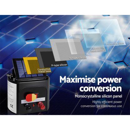 Giantz 5KM Solar Electric Fence Energiser Energizer 0.15J + 2000M Poly Fencing Wire Tape Farm + 25pcs Insulators