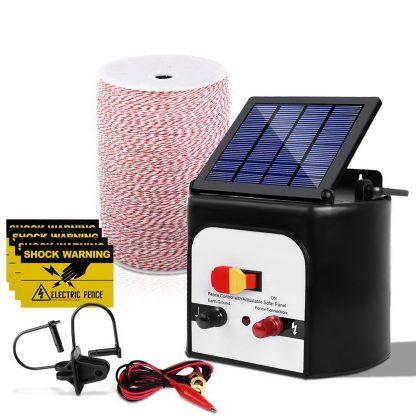 Giantz 8KM Solar Electric Fence Energiser Energizer 0.3J + 2000M Poly Fencing Wire Tape Farm + 25pcs Insulators