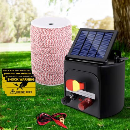 Giantz 3KM Solar Electric Fence Energiser Energizer 0.1J + 2000M Poly Fencing Wire Tape