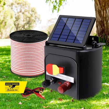 Giantz 5km 0.15J Solar Electric Fence Energiser Energizer Charger with 400M Tape