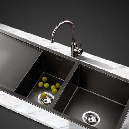 Cefito 1000 x 450mm Stainless Steel Sink Silver Black
